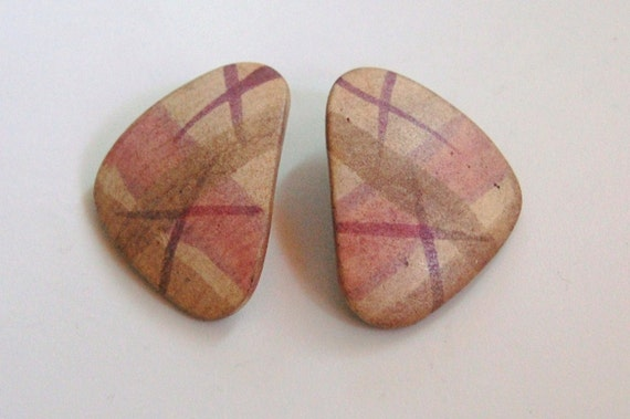 Vintage 1980s Ceramic Retro Earrings