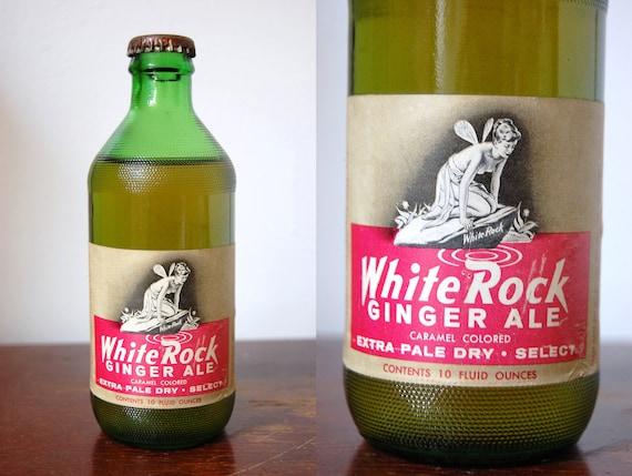 Vintage 1960s WHITE ROCK Extra Pale Dry Select Caramel Colored Ginger Ale Soda Bottle 10 Fl Oz Full