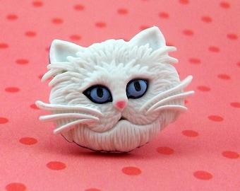 White Cat Adjustable Ring