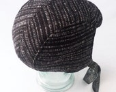 Aviator Hat : Sparkle Black and Silver Wool, Womens Hats