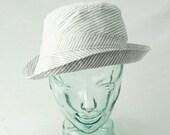 Sunhat in White, Gray, and Silver Pinstripe Cotton : Womens Hats - Carmelita - S