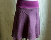 Purple Summer Skirt in Linen and Organic Bamboo : Women's Skirts - M 8/10