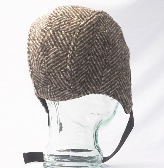 aviator hat in brown herringbone wool mens hats by