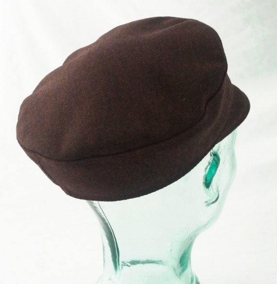 Tweed Wool Cap : Charcoal and Rust Mens, Womens Hats - XL