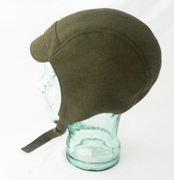 aviator hat in olive green wool womens mens by