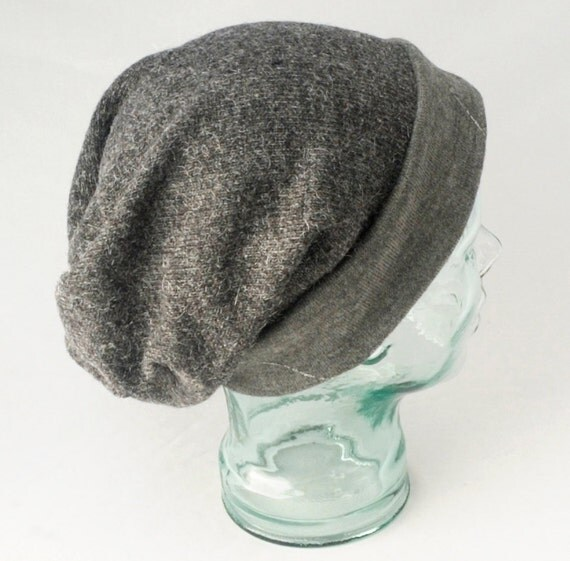 Womens Knit Slouchy Hat in Metallic Gray Wool