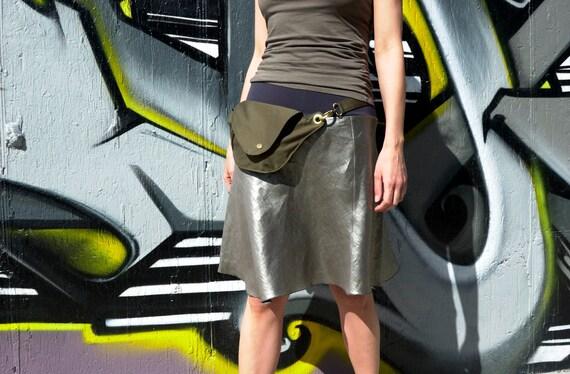Olive Green Organic Cotton Belt Bag : Fanny Pack, Hip Bag