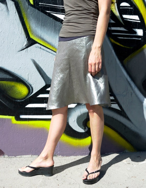 Linen Skirt in Glazed Pewter - XS - size 2 to 4 : Women's Skirts