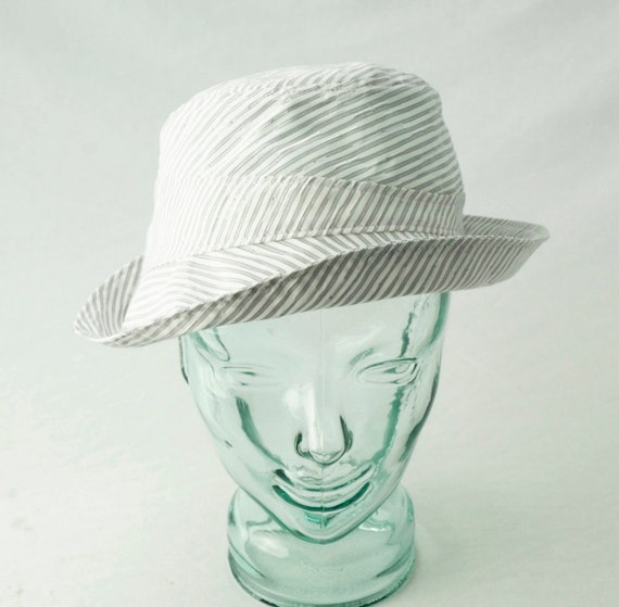 Sunhat in White, Gray, and Silver Pinstripe Cotton : Womens Hats - Carmelita - S