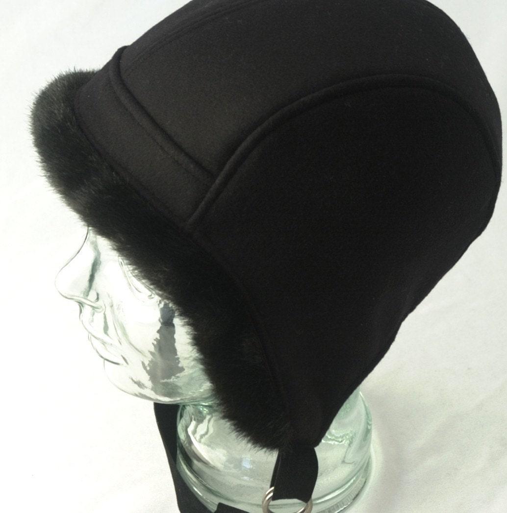 womens hat black wool aviator hat with faux fur trim lara