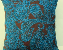 Chocolate Brown and Turquoise Blue Paisley Throw Pillow Cover -- 16 x 16