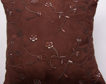 Brown Suedecloth Throw Pillow - Chocolate Brown Cushion Cover with Embossed Flowers - 16 x 16