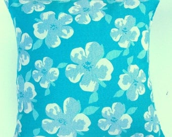 Turquoise Pillow Cover - Aqua and Ivory Flowers on Turquoise Cushion Cover -- 16 x 16