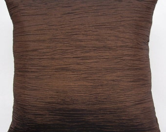 Chocolate Brown Throw Pillow - Brown Crinkle Cushion Cover with Silk Back - 16 x 16