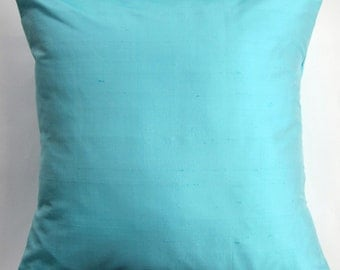 Light Turquoise Silk Pillow Cover - Aqua Throw Pillow Cover - Simply Silk - 18 x 18