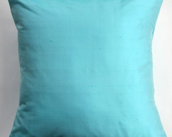 Turquoise Pillow Cover - Silk Light Turquoise Cushion Cover - Aqua Decorative Pillow - 16 x 16