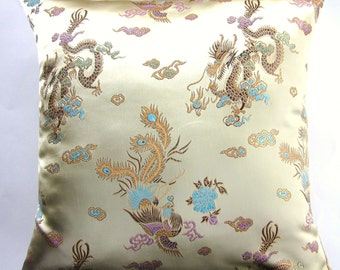 Gold Throw Pillow Cover -- Pale Gold Brocade Cushion Cover with Gold and Aqua Dragons and Birds - 16 x 16