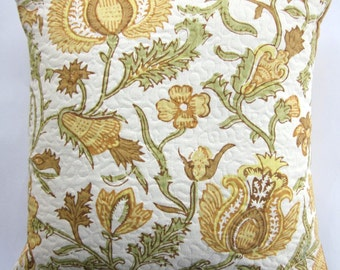 Yellow Gold Throw Pillow Cover - Golden Sunflower Cushion Cover - 16 x 16