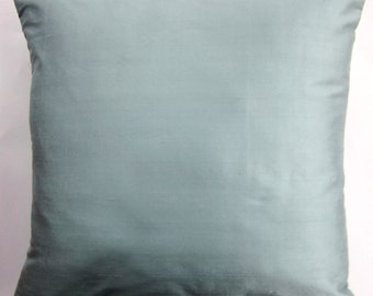 Spa Blue Silk Pillow Cover - Silk Blue Green Pillow Cushion Cover -18 x 18