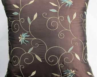 Brown Pillow Cover -- Teal on Chocolate Brown Throw Pillow Cover - 18 x 18