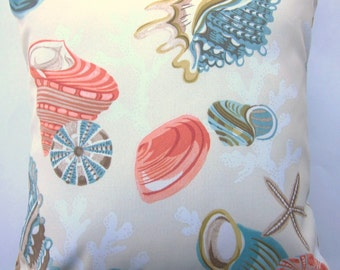 Seashell Indoor Outdoor Pillow Cover -- Beach Cushion Cover -- 18 x 18