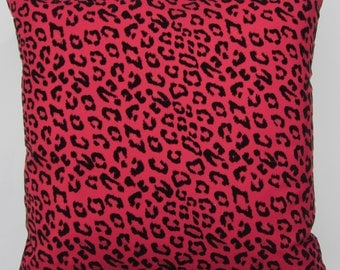 Red and Black Pillow Cover - Animal Print Cushion Cover - 16 x 16