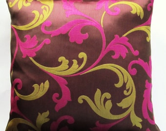 Iridescent Brown Plum Throw Pillow Cover with Magenta and Lime Green - 18 x 18