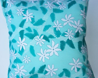 Turquoise and Teal Throw Pillow Cover -- Hawaiian Print Cushion Cover -16 x 16
