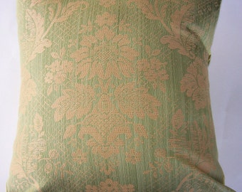 Green Throw Pillow Cover - Pale Green Damask Cushion Cover - 18 x 18