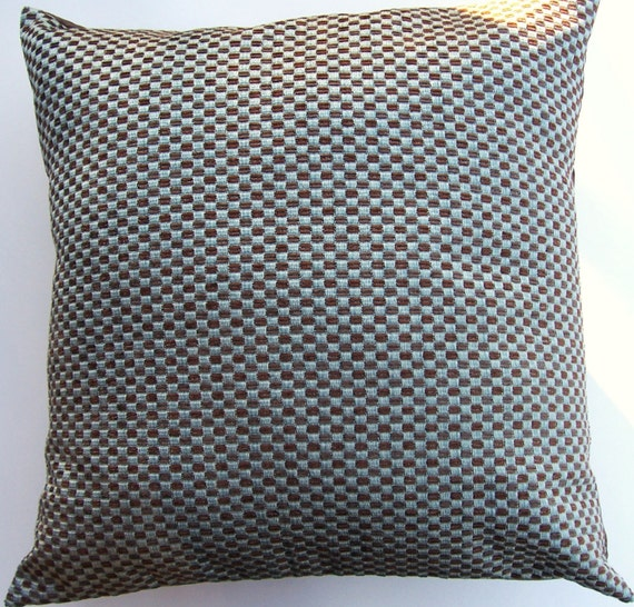 Spa Blue and Brown Throw Pillow Cover -- Woven Cushion Cover - 16 x 16