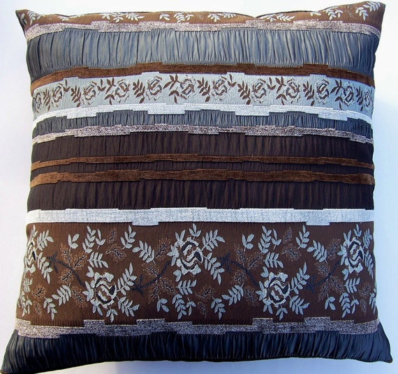 SALE Brown Throw Pillow Cover -- Chocolate and Silver Cushion Cover --18 x 18 Last One HALF PRICE