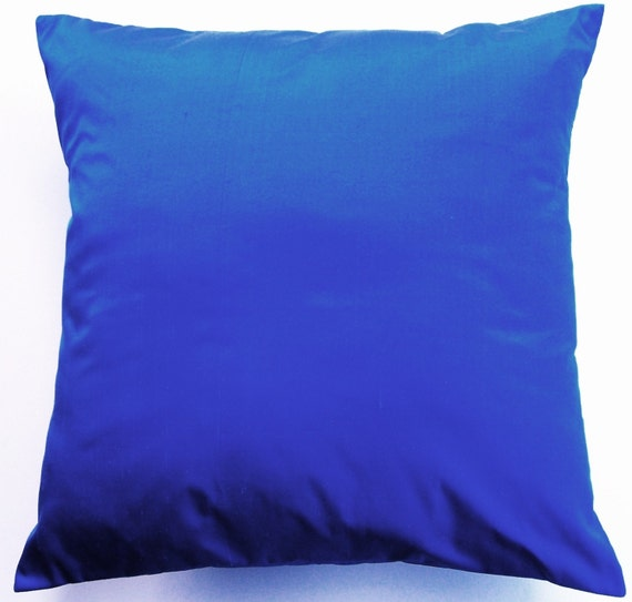 Cobalt Blue Throw Pillow -- Silk Cushion Cover -- 18 x18