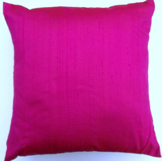 Hot Pink Pillow Cover -- Hottest Pink Simply Silk Throw Pillow Cover -- 18 x 18