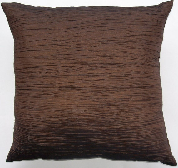 Throw Pillow Covers Brown : Chocolate Brown Throw Pillow Brown Crinkle Cushion Cover