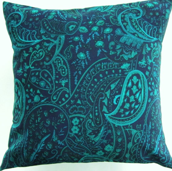 Navy Blue Pillow Cover with Turquoise and Teal Paisleys -Silky Cushion Cover - 16 x 16