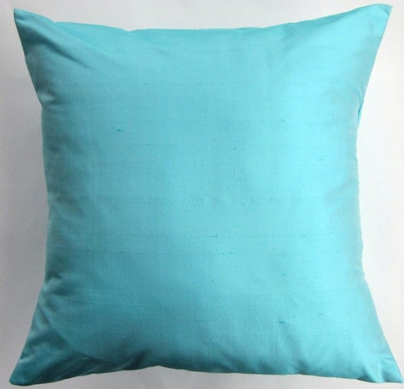 Light Turquoise Silk Pillow Cover Aqua Throw Pillow Cover