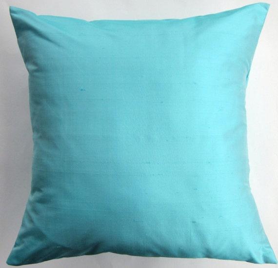 Light Turquoise Silk Pillow Cover - Aqua Throw Pillow Cover - Simply Silk - 18 x 18