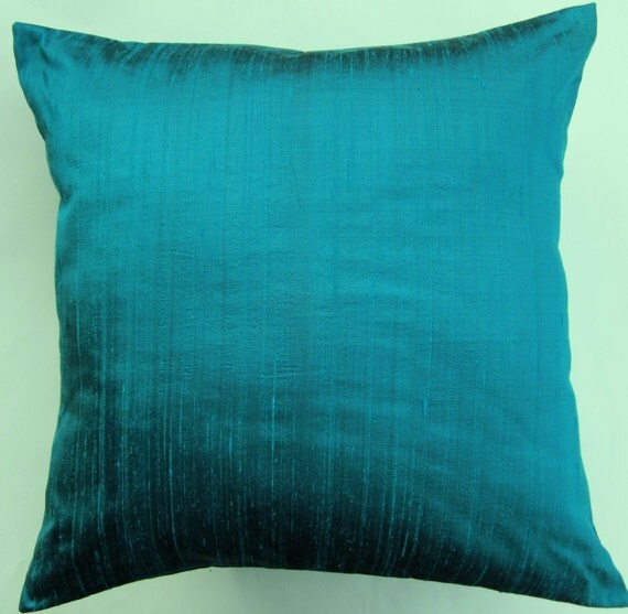 Turquoise Pillow Aquamarine Silk Throw Pillow Cover Deep