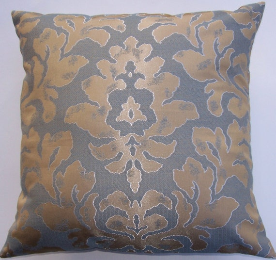 Silver and Gold Damask Throw Pillow Cover - 16 x 16