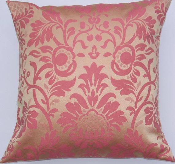 Gold Damask Throw Pillow : Gold and Pink Damask Pillow Cover Throw Pillow