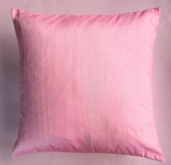 Etsy Pink Throw Pillow : Pink Throw Pillow Cover Pink Silk Cushion Cover 16 x 16