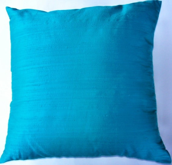 Simply Envogue Decorative Pillow : Dark Turquoise Silk Throw Pillow Cover Simply Silk Turquoise