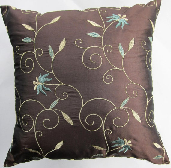 Brown Throw Pillows Etsy : Items similar to Brown Pillow Cover -- Teal on Chocolate Brown Throw Pillow Cover - 18 x 18 on Etsy