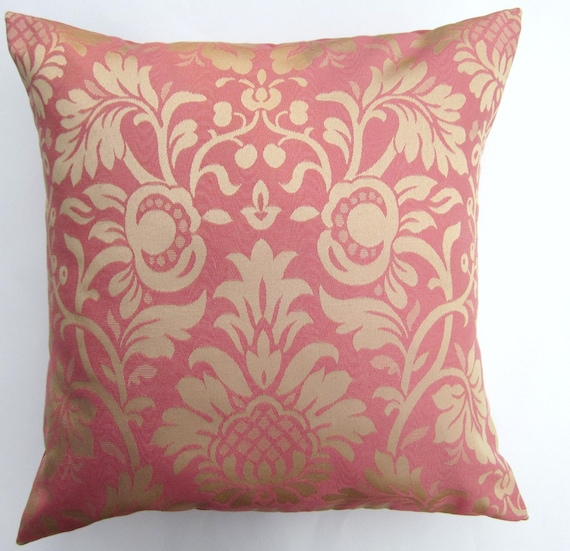 Gold Damask Throw Pillow : Pink and Gold Damask Throw Pillow Cover Honeysuckle Pink and