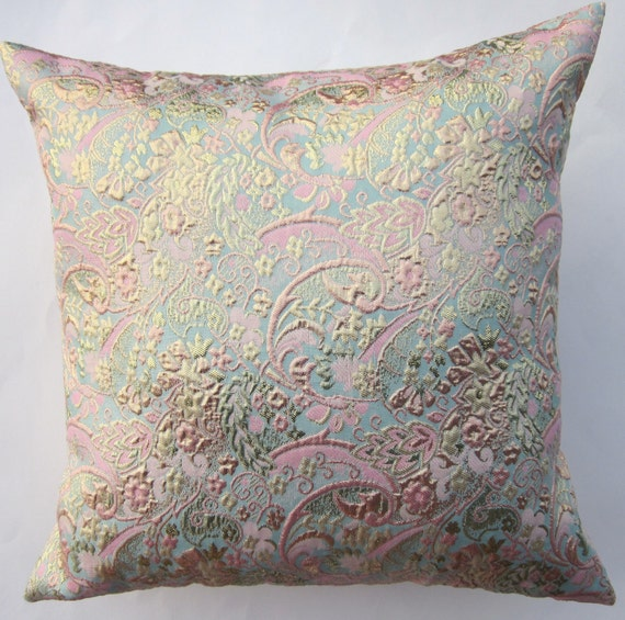 Pink and TurquoiseThrow Pillow Cover - Pale Aqua, Pink and Gold Brocade Cushion Cover - 16 x 16