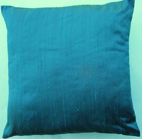 Turquoise Throw Pillow - Silk Peacock Blue Cushion Cover - 18 x 18