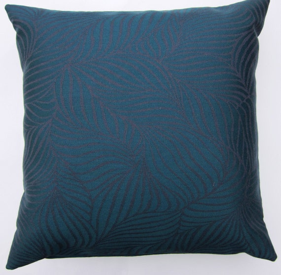 Teal Throw Pillow Cover With Eggplant Leaves 18 X 18