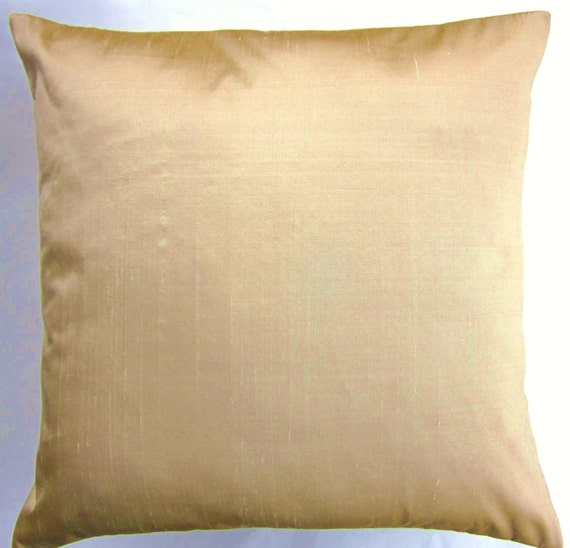Simply Envogue Decorative Pillow : Gold Silk Throw Pillow Cover Simply Silk Light Gold Cushion