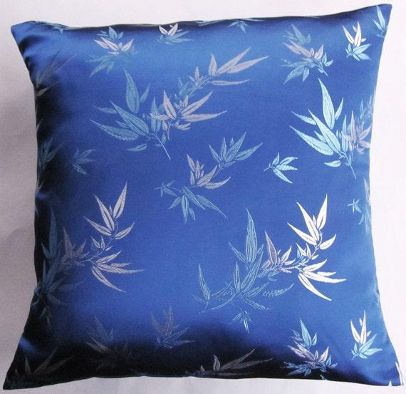 Royal Blue Throw Pillow Cover -- Blue Bamboo Brocade Cushion Cover -- 18 x 18