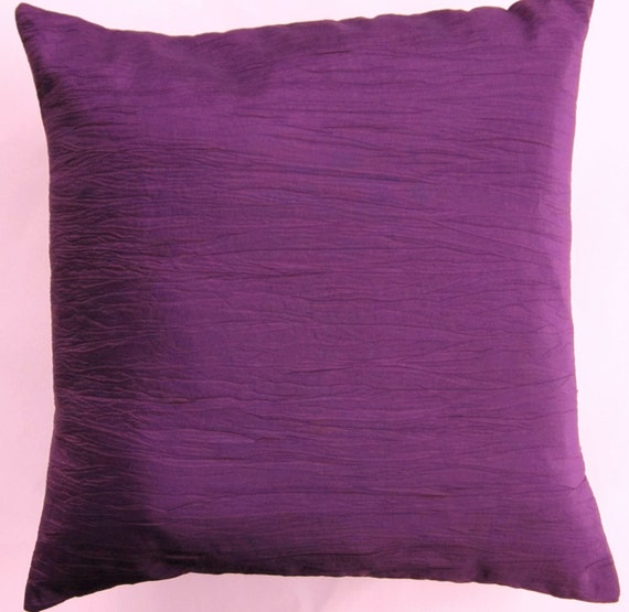 Purple Pillow Cover -- Crinkled Eggplant Purple Throw Pillow Cover -- 16 x 16